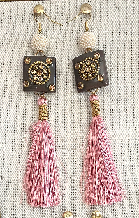 Beaded Tile Pink Tassel Earrings