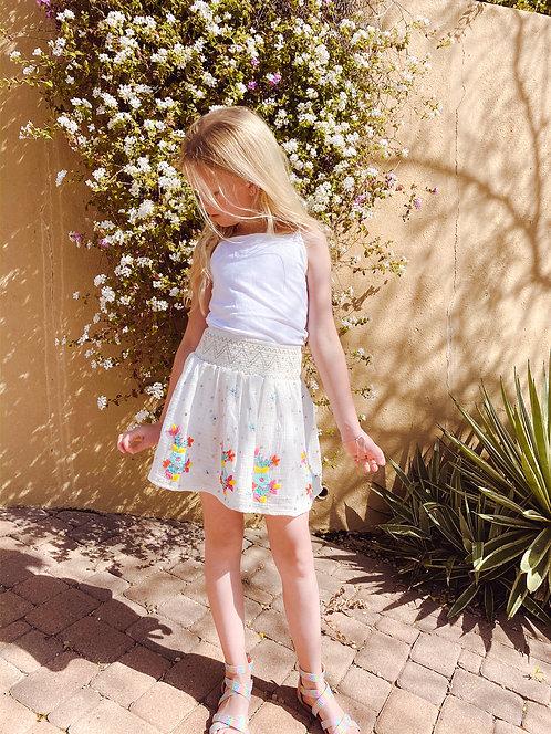 Smocked embroidered skirt