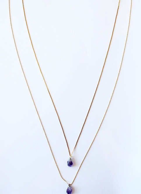 amethyst double layered necklace