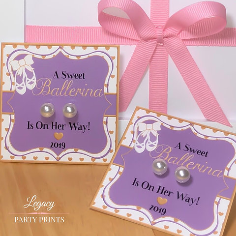 Purple Ballerina Baby Shower Favors With White Pearl Earrings