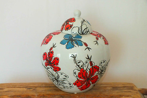 Japanese Flower Lidded Jar