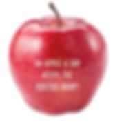 Roter Apfel mit Lasergravur als gesundes Giveaway mit Spruch An apple a day keeps the doctor away