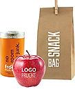 Roter Apfel mit Logo und Smoothie als gesundes Gechenk für Kunden