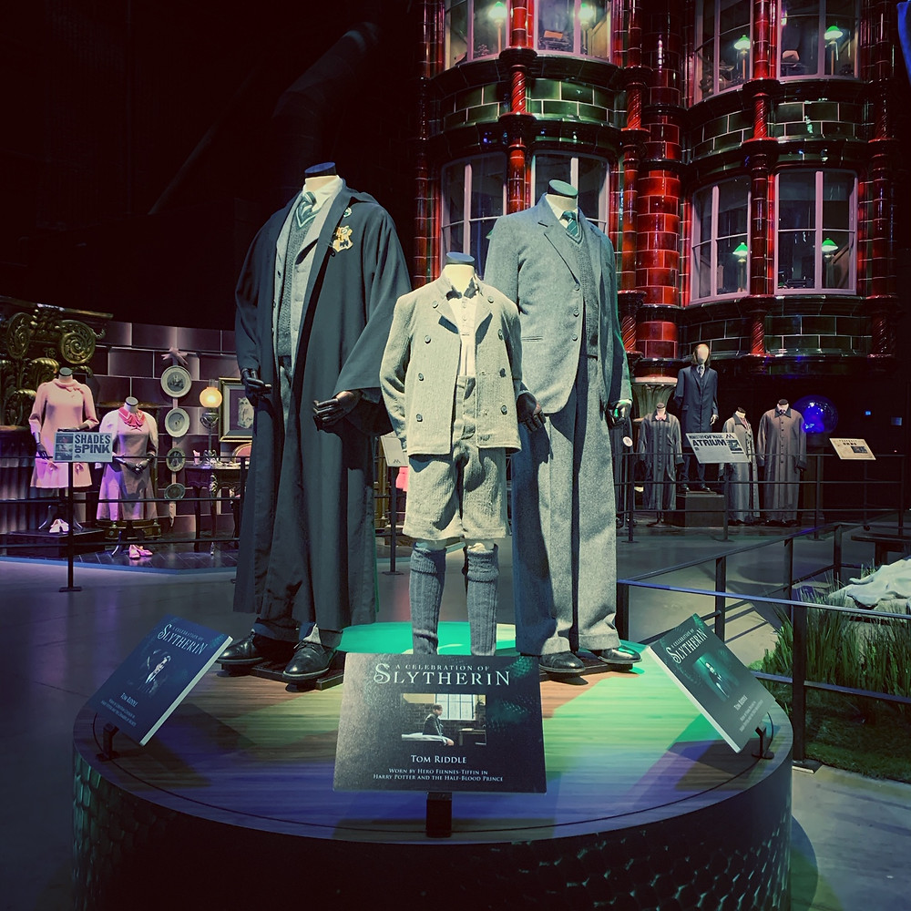 The 3 iterations of Tom Riddle Costume Display