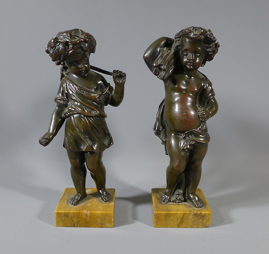 Pair of 18th/19th C Grand Tour Era Bronze of Puttee on Sienna Marble Bases #1