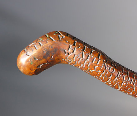 Rare 18th Century Heavily Carved Wooden 'Preacher's' Cane end #1