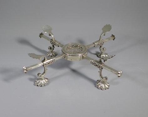 Rare Antique Georgian Hallmarked Sterling Silver Adjustable Dish Stand
