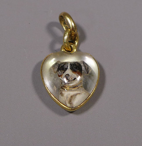 Fine 18ct Gold Mounted Heart Shaped Essex Crystal Pendant Jack Russell Terrier