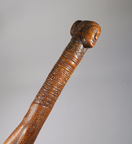 Fine 18th C. In Memoriam Carved Folk Art  Walking Stick Cane  #1