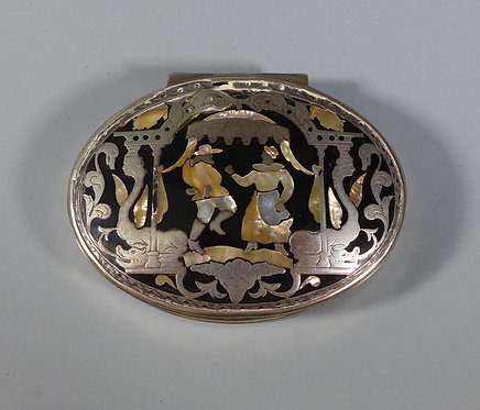 Fine 18th C. Dutch Tortoiseshell Snuff Box Inlaid with Silver and MOP #1