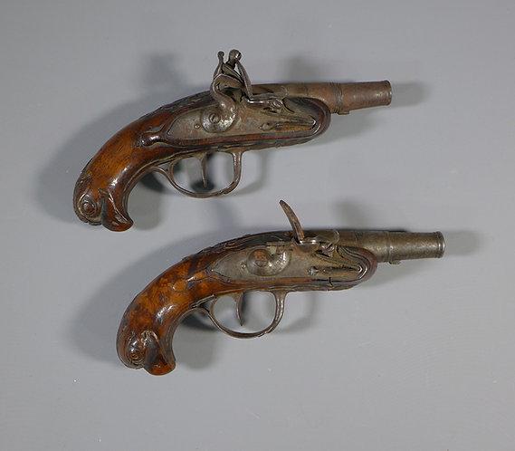 Rare Pair of 18th C. Small Cannon Barrel Flintlock Pistols Carved Walnut FRONT
