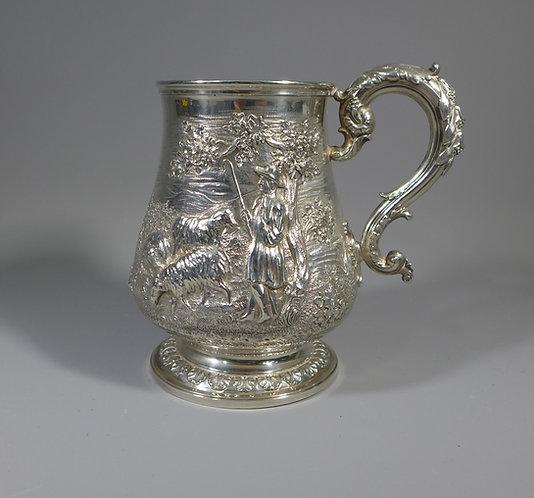 Superb Antique Embossed Hallmarked Sterling Silver Presentation Tankard 1840 #1