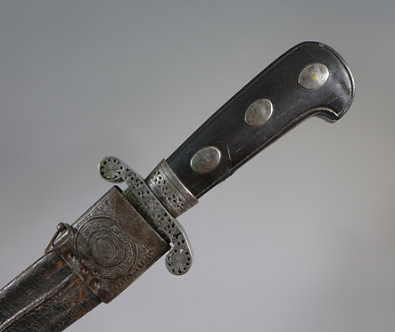 Fine 18th C. Continental Hunting Sword with Steel Mounts handle