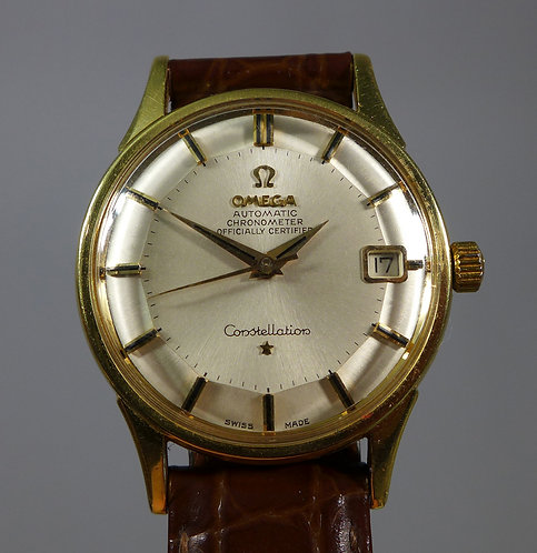 Fine 18ct Gold Omega Pie Pan Dial Constellation Chronometer Automatic Wristwatch #1