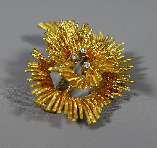 Vintage 18ct Gold and Diamond Modernist Brooch Richard Hans Becker 1991 #1