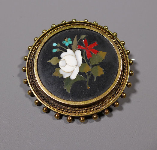 Antique 19th C. Pietra Dura Hard Stone Brooch Mounted in 15ct Gold Front #1