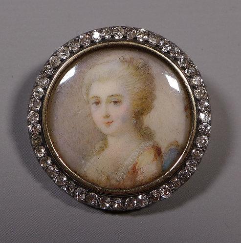 Fine Georgian Portrait Miniature Brooch Mounted in Gold with Diamond Border #1