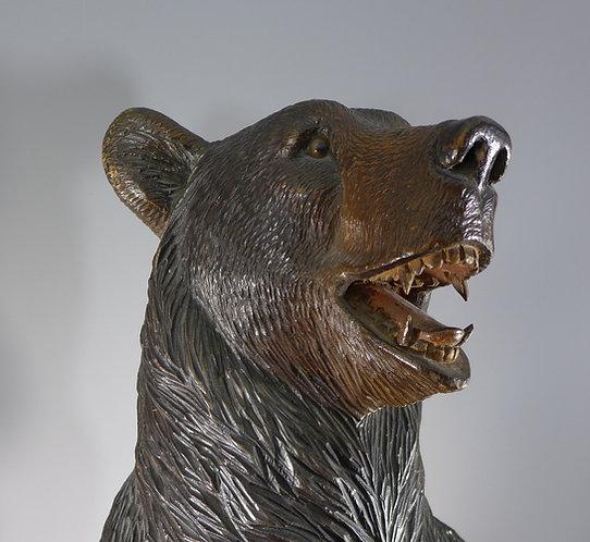 Fine Antique Black Forest Carved Bear Stick Stand #1