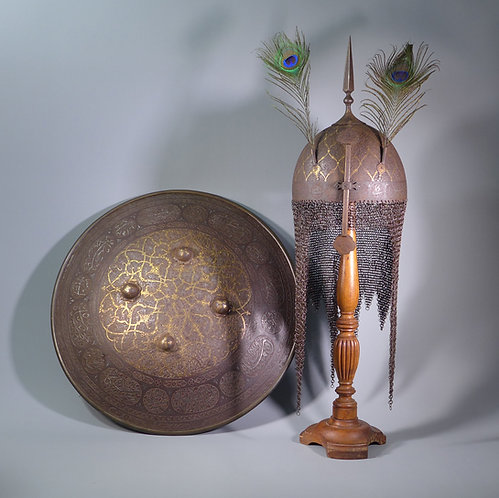 Rare Indo Persian Matching  Kulah Khud Helmet and Dhal shield