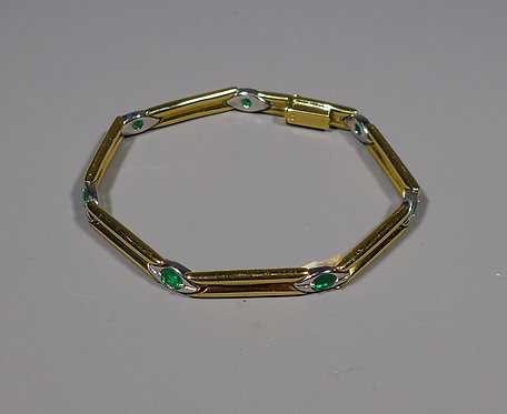Fine Vintage 18ct 2 Colour Gold and Emerald Bracelet 28.4 Grams main