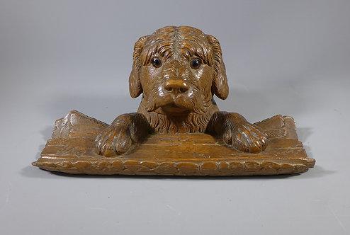 Fine Antique Black Forest Carved Dog Ink Well #1