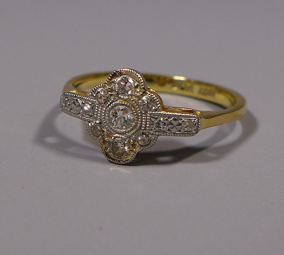 Art Deco 18ct Gold, Platinum and Diamond Ring UK size O main #1
