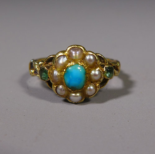 Antique 15ct Turquoise Pearl and Emerald Mourning Ring UK size J #1