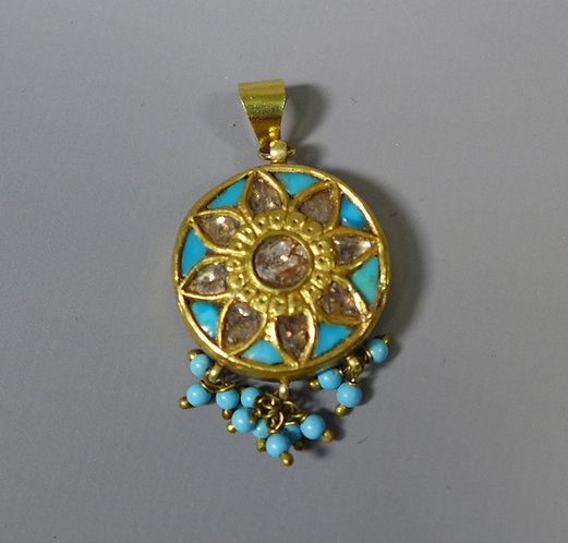 Antique High Carat Gold  Mughal Indian Pendant Set with Diamonds and Turquoise #1