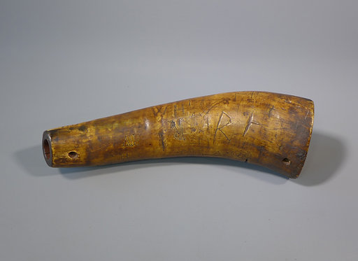 Antique 18th C. Folk Art Scrimshaw Cow Horn Powder flask Thomas Jones 1789