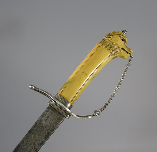 18th C. French Carved Ivory Hilt Hunting Sword #1