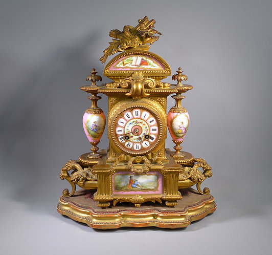 Gilt Bronze Mantle Clock By P.H. Mourey Sevres style Panels #1