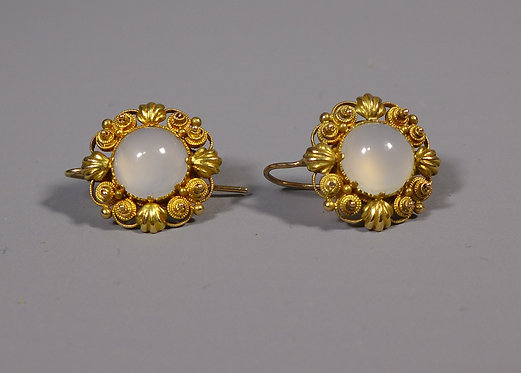 Pair of Fine Georgian High Carat Cannetille Gold and Moonstone Earrings #1