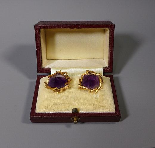 Fine Pair of 18ct Gold Tiffany Amethyst Cufflinks Boxed London 1973 #1