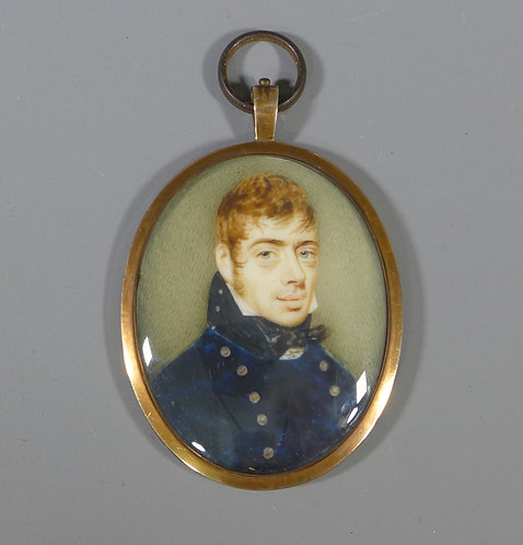 Antique Georgian 19th C. Gold Mounted Portrait Miniature of a Naval Officer #1
