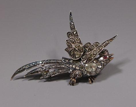 Large Antique 19th C. Rose Cut Diamond Bird Brooch