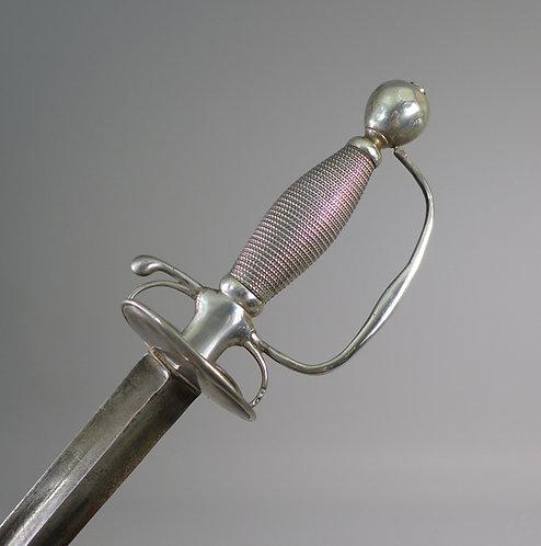 Rare Antique English Silver Hilted Small Sword Colichemarde Blade 1721 #1