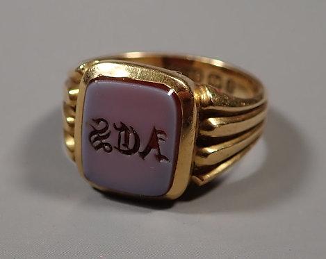 18ct Gold Hard stone Mounted Signet Ring 1898 Size 0 #1
