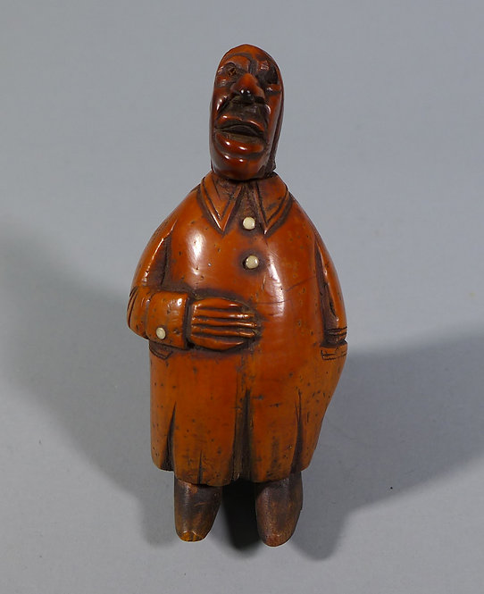 Fine Antique Late 18th C. French Carved Coquilla Nut Snuff Box Man #1 front