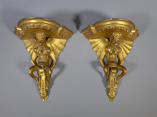 Rare Pair of Antique 19th C. Italian Gilt Wood Wall Sconces Firenze Main