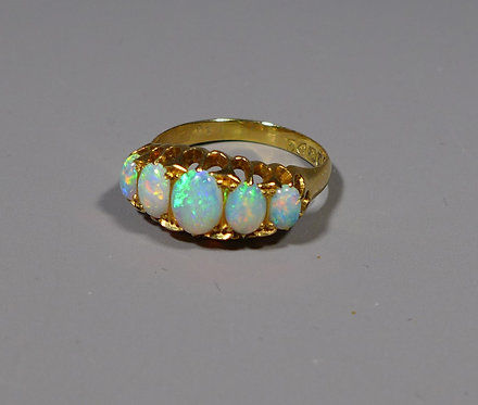Fine Antique 18ct Gold Opal Ring UK size P Chester 1909 main