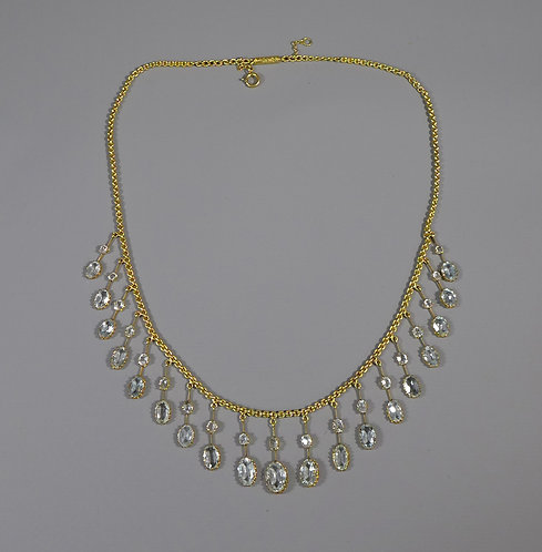 Fine Edwardian 15ct Gold and Aquamarine Fringe Necklace #1