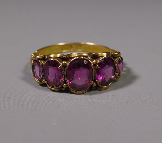 Antique 15ct Five Stone Amethyst Ring UK size N #1