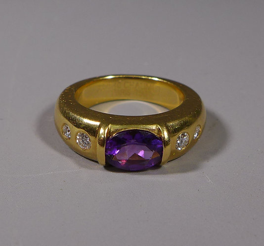 Vintage Chaumet 18ct Gold Amethyst and Diamond Ring UK Size K #1