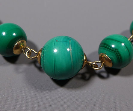 Vintage 9ct Gold Mounted String of Malachite Beads Necklace Main