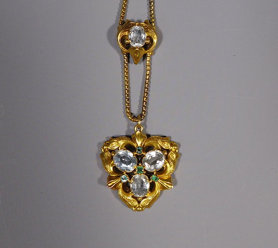 Fine Antique Early Victorian 15ct Gold and Aquamarine Pendant Necklace main