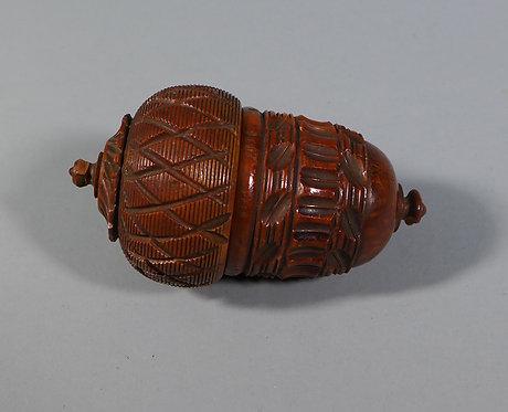 Fine Antique Georgian Carved Coquilla Nut Nutmeg Box & Grater #1