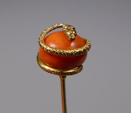 Antique 19th c. Georgian Gold Red Coral Snake Stick Pin Cased closeup #1
