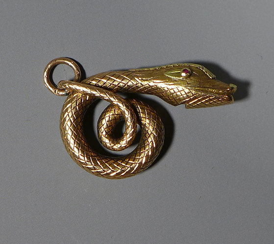 Rare Antique 19th c. Georgian 15 Carat Gold Snake Whistle Pendant side #1