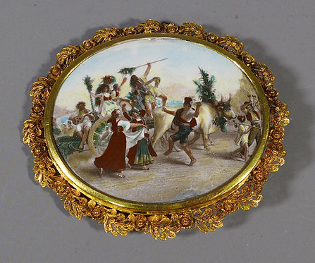 Antique 19th C. Italian Miniature Enamel Painting on Copper Mounted as a Brooch #1