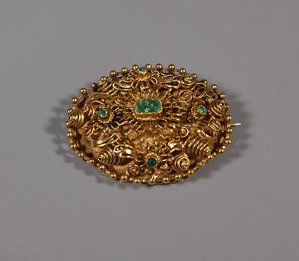 Fine Georgian 18ct Cannetille Gold and Emerald Brooch #1